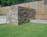 Alpine stone pool filter wall