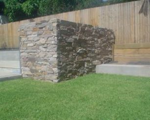 Alpine stone pool filter wall