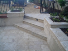 Travertine paving and steps