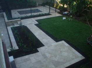 Travertine path