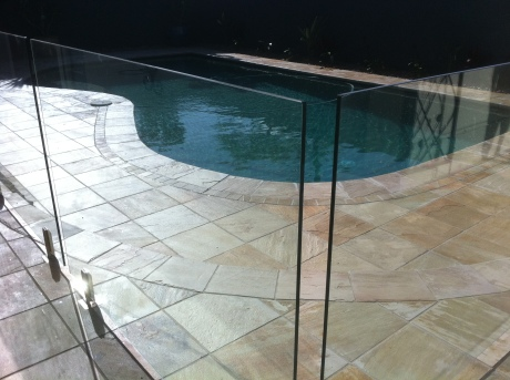 Sandstone Pool Surrounds & Glass Fencing