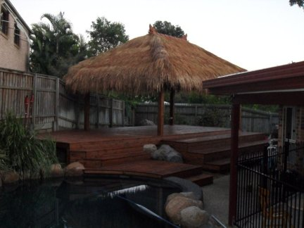 Bali Hut and Treated pine decking with stain