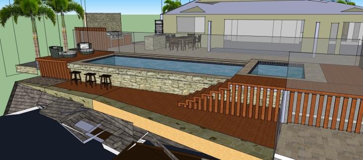 Pool with bar edge