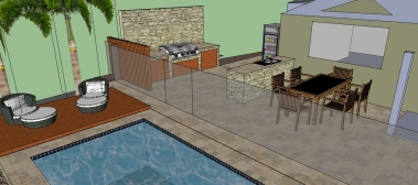 Pool decking and BBq area