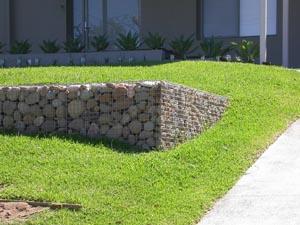 Stone gabion retaining