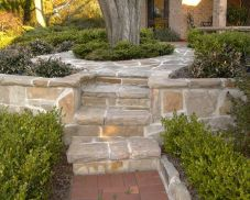 sandstone fallging walls & steps