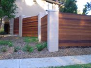 Hardwood screening with Masonry pillars